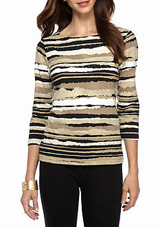 Ruby Rd Must Have Embellished Border Print Knit Top