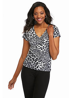 Ruby Rd Must Haves Mixed Spots Printed Knit Top