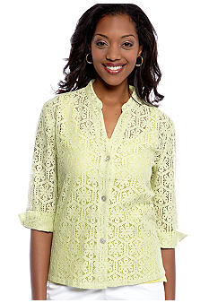 Ruby Rd Favorite Stand Collar Floral Lace Shirt
