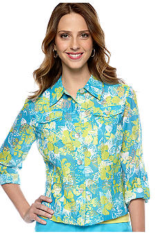 Ruby Rd Ruby Rd. Favorite Stand Collar Floral Burnout Shirt