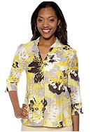 Ruby Rd. Favorite Stand Collar Floral Burnout Shirt