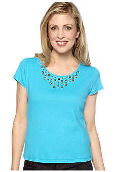 Ruby Rd Embellished Solid Rib Knit Top with Cap Sleeves