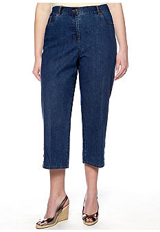 Ruby Rd Plus Size Key Item 3-Button Denim Capri