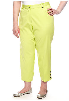Ruby Rd Plus Size Key Item Side Elastic Stretch Twill Capri