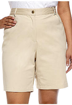 Ruby Rd Plus Size 5-Pocket Elastic Side Twill Short