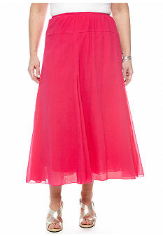 Ruby Rd Plus Size Gauze Crinkle Skirt