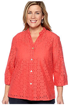 Ruby Rd Plus Size Key Item Floral Lace Button Front Shirt
