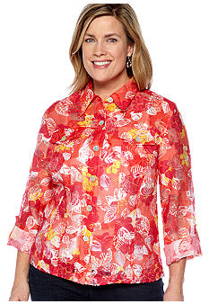 Ruby Rd Plus Size Key Items Tropical Hibiscus Burnout Shirt