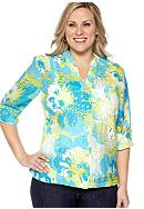 Ruby Rd Plus Size Key Items Coastal Floral Burnout Shirt