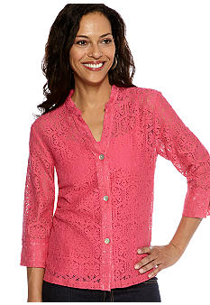Ruby Rd Petite Favorite Stand Collar Floral Lace Shirt