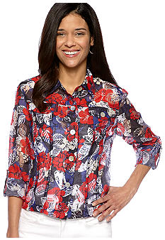 Ruby Rd Petite Favorite Button Front Hibiscus Burnout Top