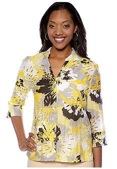 Ruby Rd Petite Favorite Stand Collar Floral Burnout Shirt
