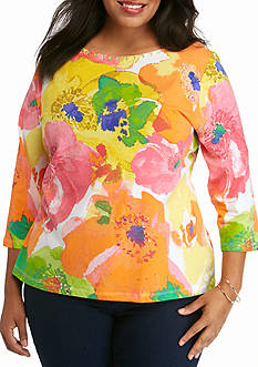 Ruby Rd Plus Size Must Haves Blossom Print Embellished Top