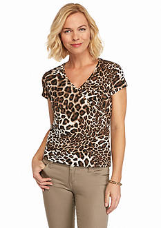 Ruby Rd Petite Must Haves Mixed Spots Printed Knit Top