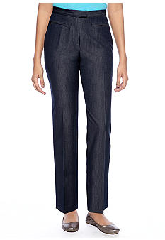 Ruby Rd Petite Boho Cool Side Elastic Career Stretch Denim Pant - Regular Length