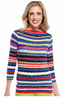 Ruby Rd Ruby Rd. Pack a Punch Ombre Stripe Printed Knit Top