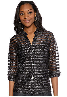 Ruby Rd Sunshine State Foil Printed Applique Tulle Shirt