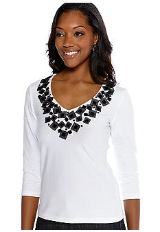 Ruby Rd Sunshine State Embellished Solid Knit Top