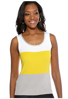 Ruby Rd Sunshine State Embellished Color Block Sleeveless Shell