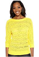 Ruby Rd Sunshine State Zig-Zag Stitch Tape Yarn Pullover Sweater