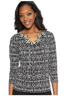 Ruby Rd Sunshine State Embellished Keyhole Linear Ethnic Print Knit Top