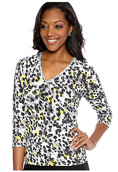 Ruby Rd Sunshine State Embellished Mock Surplice Printed Knit Top