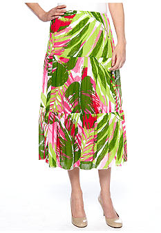 Ruby Rd Cocoa Beach Tropical Crinkle Skirt