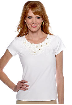 Ruby Rd wCoca Beach Lace Embellished Short Sleeve Top