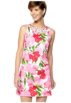 Ruby Rd Cocoa Beach Embellished Floral Dress