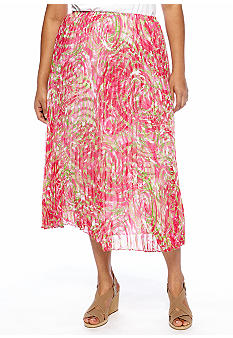 Ruby Rd Plus Size Cocoa Beach Rhapsody Printed Skirt