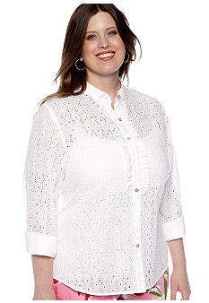 Ruby Rd Plus Size Cocoa Beach Ruffle Eyelet Button Front Shirt