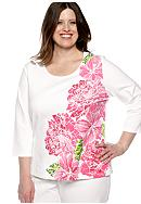 Ruby Rd Plus Size Cocoa Beach Stamped Blossoms Knit Top