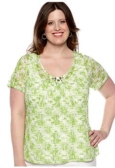 Ruby Rd Plus Size Cocoa Beach Printed Burnout Knit Top