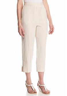 Ruby Rd Petite Boho Chic Linen Capri Pants