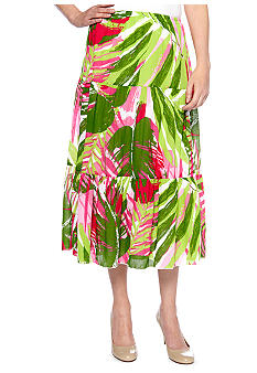 Ruby Rd Petite Cocoa Beach Tropical Crinkle Skirt