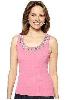 Ruby Rd Petite Coco Embellished Sleeveless Shell