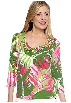 Ruby Rd Petite Cocoa Embellished V-Neck Jumbo Tropical Printed Knit Top