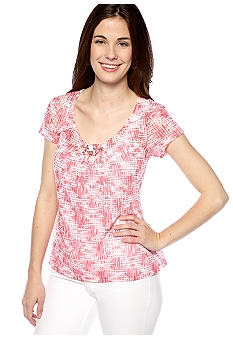 Ruby Rd Petite Coco Beach Printed Burnout Tee with Lining and Embellished Neckline
