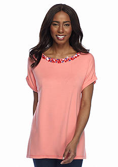 Ruby Rd Urban Escape Short Sleeve French Terry Top