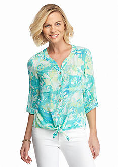 Ruby Rd Petite Oasis Printed Tie Front Blouse