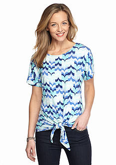 Ruby Rd Must Haves Printed Tie Front Top
