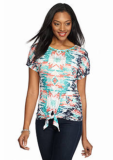 Ruby Rd Must Haves Tie Front Burnout Tee