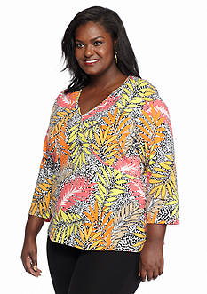 Ruby Rd Plus Size Must Haves Floral Print Surplice Top