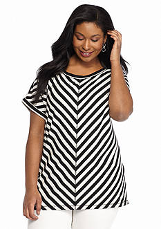 Ruby Rd Plus Size Miltered Striped Top