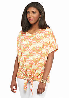 Ruby Rd Plus Size Must Haves Printed Tie Front Top