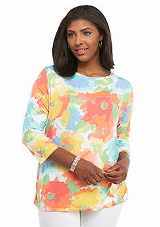 Ruby Rd Plus Size Must Haves Watercolor Floral Top