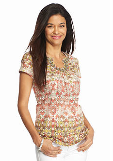 Ruby Rd Plus Size Must Haves Short Sleeve Aztec Print Top