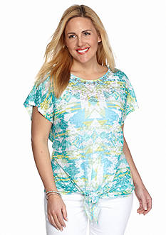 Ruby Rd Plus Size Must Haves Aztec Burnout Tie Front Top