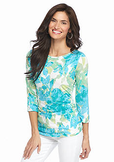 Ruby Rd Petite Must Haves Floral Print Side Ruched Top