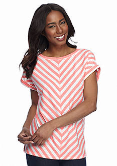 Ruby Rd Petite Must Haves Striped French Terry Tee